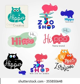 Hippo logo. Animal logo. Zoo hand made icons. Hippopotamus label. Color logos with the Hippo. Set of hippo logotype. Hippo sign, icon hand made. Hippopotamus brand logo