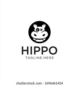Hippo logo design silhouette Vector Stock Illustration . Hippo Head Logo design Black