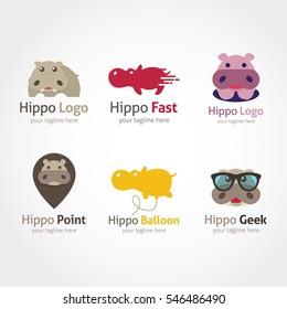 Hippo Logo Design Template.
