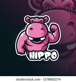 hippo mascot logo design vector with modern illustration concept style for badge, emblem and tshirt printing. smart hippo illustration.