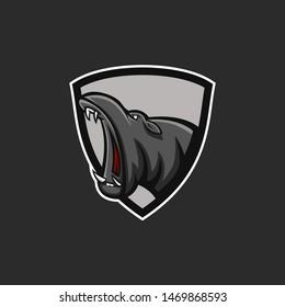 hippo mascot logo opens its mouth. Hippo e-sports logo. Hippo mascot with shield logo. Badge hippo logo