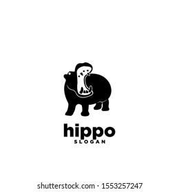 hippo open mouth logo icon design vector illustration