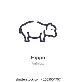 hippo outline icon. isolated line vector illustration from animals collection. editable thin stroke hippo icon on white background