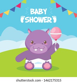 hippo with rattle toy baby shower card vector illustration