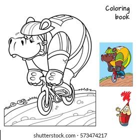 Hippo rides a bike. Coloring book. Cartoon vector illustration