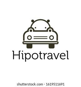 hippo and travel logo illustration