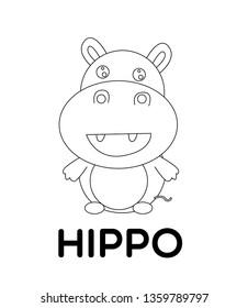 hippo, vector animal cartoon, coloring book or page