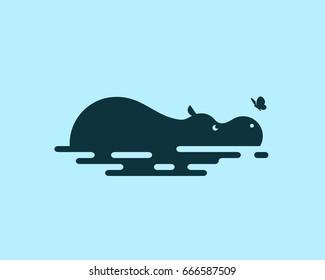 Hippo vector icon.