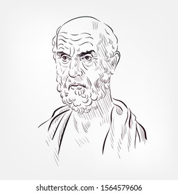 Hippocrates of Kos vector sketch illustration