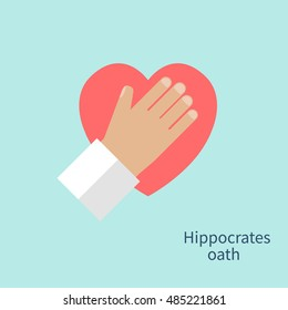 Hippocrates oath. Hand doctor heart as a symbol of fidelity devotion and occupation. Concept of Healthcare, medetsina. Vector illustration flat design.