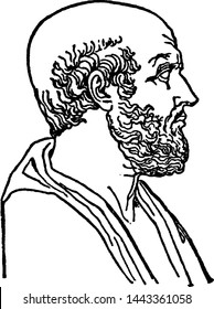 Hippocrates, vintage engraved illustration drawing