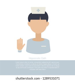 Hippocratic oath. Medicine graduate taking an oath. Ethical standards Healthcare concept. Student avatar. Vector isolated illustration