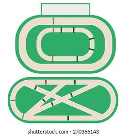 Hippodrome stadium for horse racing. Vector Illustration.