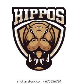 hippopotamus animal wild mascot sport logo illustration vector