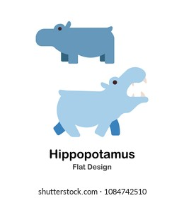 Hippopotamus flat illustration