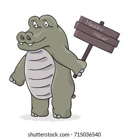 Hippopotamus with happy hour sign. Cartoon illustration.