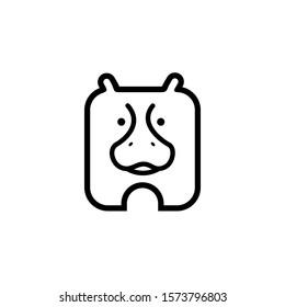 Hippopotamus Icon Design, Square Hippo Cartoon, Hippo Logo with Line Style Concept