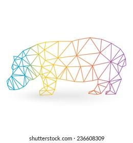 Hippopotamus illustration triangle style