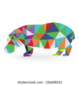 Hippopotamus illustration triangle style