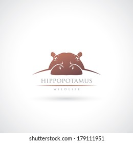 Hippopotamus label - vector illustration