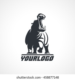 Hippopotamus logo sign on white background vector illustration