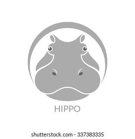 Hippopotamus. Logo. Vector illustration