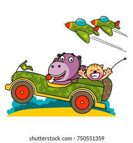 hippopotamus riding a military car with his troops
