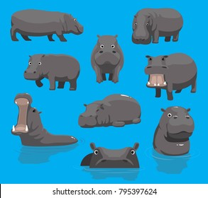 Hippopotamus Yawning Cute Cartoon Vector Illustration