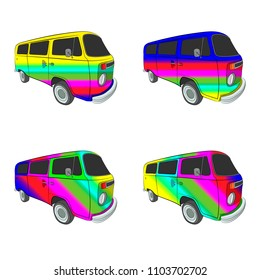 hippy bus with rainbow aerography vector drawing