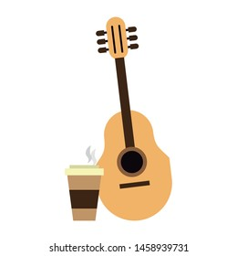 hipster accessories for the summer with acoustic guitar and coffee cup Vector design illustration