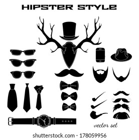 Hipster accessory pictograms collection of hat glasses mustache beard bow and tie vector illustration