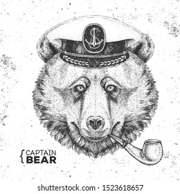 Hipster animal bear captain's cap and smoking pipe. Hand drawing Muzzle of bear