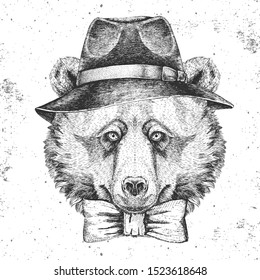 Hipster animal bear with hat. Hand drawing Muzzle of bear