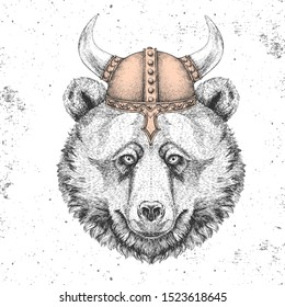 Hipster animal bear wearing a viking helmet. Hand drawing Muzzle of bear