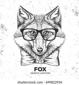 Hipster animal fox. Hand drawing Muzzle of animal  fox