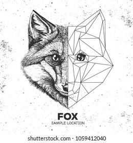 Hipster animal realistic and polygonal fox face. Triangle animal