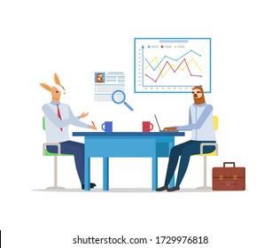 Hipster animals vector, meeting of kangaroo and sloth, personal mentor and teacher. Businessmen sitting by table with laptop and board with charts