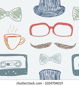 Hipster background doodle - seamless texture vector illustration.
