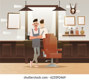 ?artoon hipster barber character.  Barber shop, lounge chair, man. Vector illustration