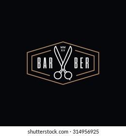 Hipster barber vintage retro label, badge, crest