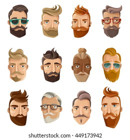 Hipster barbershop cartoon european people with beards moustaches and various stylish haircuts on white background isolated vector illustration
