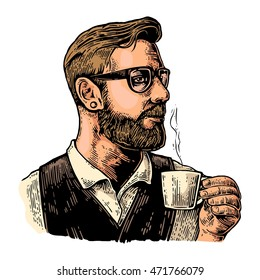 Hipster barista with the beard holding a cup of hot coffee. Hand drawn style. Vintage vector color engraving illustration for label, web, poster. Isolated on white background.