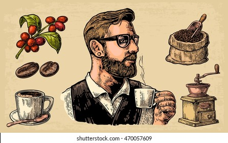 Hipster barista holding a cup of hot coffee. Sack with beans and wooden scoop,  branch with leaf and berry. Vintage vector engraving illustration. Isolated on beige background.