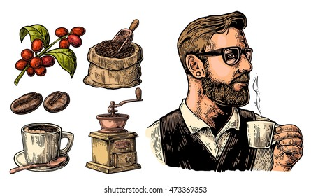 Hipster barista holding a cup of hot coffee. Sack with beans and wooden scoop, cup, branch with leaf and berry. Vintage color vector engraving illustration. Isolated on white background.