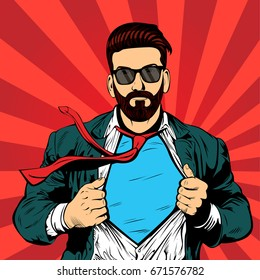 Hipster beard male businessman pop art retro vector illustration. Strong Businessman in glasses in comic style. Success concept.