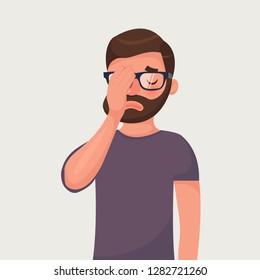 Hipster beard man in glasses make a facepalm gestures. Headache, disappointment or shame. Vector illustration in cartoon style