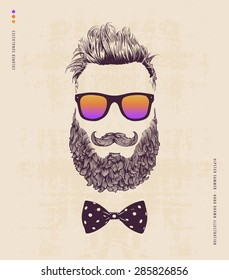 Hipster with beard, mustache and sunglasses. hand drawn illustration