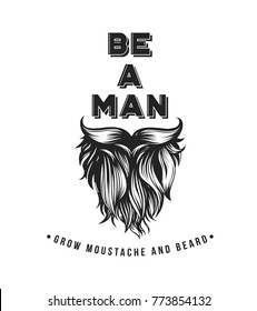 Hipster beard and mustache symbol, male, barber shop, vector illustration