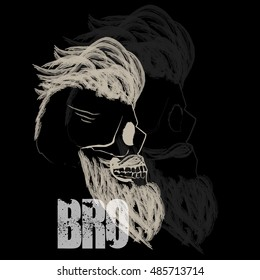 Hipster beard skull typography. Vector illustration, print, fashion design and t-shirt graphics