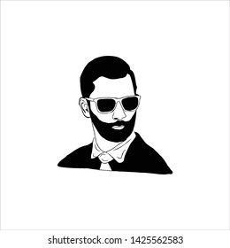 Hipster bearded man with crease look. Graphic element for barbershops design etc. Vector illustration.